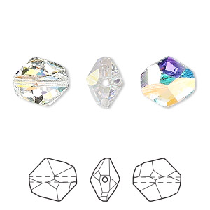 bead, swarovski crystals, crystal ab, 12x11mm faceted cosmic (5523). sold per pkg of 144 (1 gross).