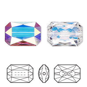 bead, swarovski crystals, crystal ab, 18x12.5mm faceted emerald cut (5515). sold per pkg of 24.