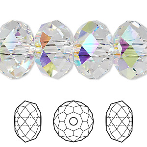 bead, swarovski crystals, crystal ab, 18x12mm faceted rondelle with 3.5mm hole (5041). sold per pkg of 24.