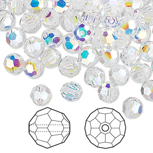 bead, swarovski crystals, crystal ab, 6mm faceted round (5000). sold per pkg of 360.