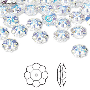 bead, swarovski crystals, crystal ab, 8x3mm faceted marguerite lochrose flower (3700). sold per pkg of 288 (2 gross).