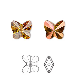 bead, swarovski crystals, crystal astral pink, 12x11mm faceted butterfly (5754). sold per pkg of 144 (1 gross).