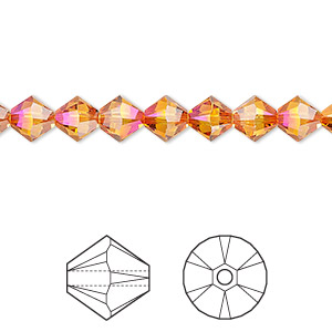 bead, swarovski crystals, crystal astral pink, 6mm xilion bicone (5328). sold per pkg of 360.