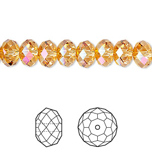 bead, swarovski crystals, crystal astral pink, 8x6mm faceted rondelle (5040). sold per pkg of 288 (2 gross).