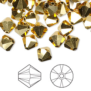 bead, swarovski crystals, crystal aurum 2x, 8mm xilion bicone (5328). sold per pkg of 288 (2 gross).