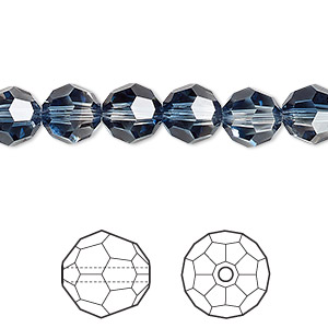 bead, swarovski crystals, crystal blend colors, crystal clear and montana, 8mm faceted round (5000). sold per pkg of 288 (2 gross).