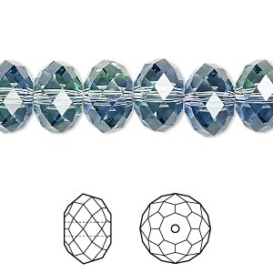 bead, swarovski crystals, crystal blend colors, crystal passions, provence lavender and chrysolite, 12x8mm faceted rondelle (5040). sold per pkg 12.
