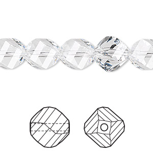 bead, swarovski crystals, crystal clear, 10mm faceted helix (5020). sold per pkg of 12.