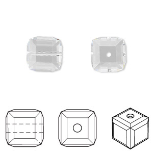 bead, swarovski crystals, crystal clear, 10x10mm faceted cube (5601). sold per pkg of 2.