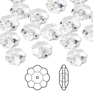 bead, swarovski crystals, crystal clear, 10x3.5mm faceted marguerite lochrose flower (3700). sold per pkg of 288 (2 gross).