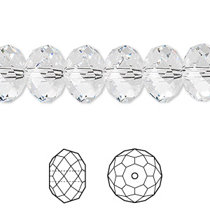 bead, swarovski crystals, crystal clear, 12x8mm faceted rondelle (5040). sold per pkg of 144 (1 gross).