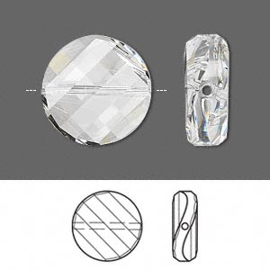 bead, swarovski crystals, crystal clear, 18mm faceted twist with 1.1-1.7mm hole (5621). sold per pkg of 24.