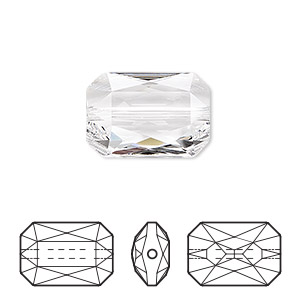bead, swarovski crystals, crystal clear, 18x12.5mm faceted emerald cut (5515). sold per pkg of 24.