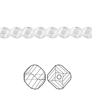 bead, swarovski crystals, crystal clear, 6mm faceted helix (5020). sold per pkg of 144 (1 gross).