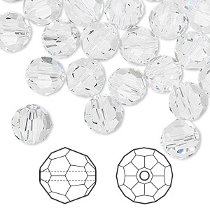 bead, swarovski crystals, crystal clear, 8mm faceted round (5000). sold per pkg of 288 (2 gross).