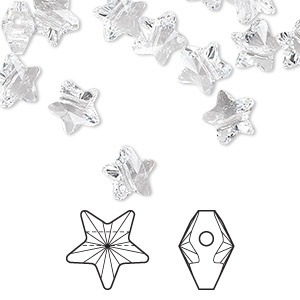 bead, swarovski crystals, crystal clear, 8x8mm faceted star (5714). sold per pkg of 288 (2 gross).