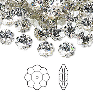 bead, swarovski crystals, crystal clear, foil back, 14x5mm faceted marguerite lochrose flower (3700). sold per pkg of 144 (1 gross).