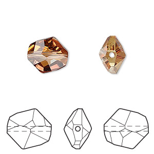 bead, swarovski crystals, crystal copper, 12x11mm faceted cosmic (5523). sold per pkg of 144 (1 gross).