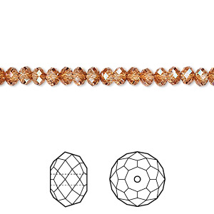 bead, swarovski crystals, crystal copper, 4x3mm faceted rondelle (5040). sold per pkg of 12.