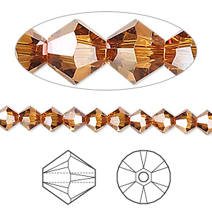 bead, swarovski crystals, crystal copper, 5mm xilion bicone (5328). sold per pkg of 720 (5 gross).