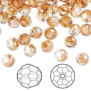 bead, swarovski crystals, crystal copper, 6mm faceted round (5000). sold per pkg of 360.