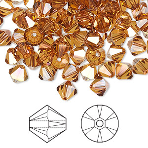 bead, swarovski crystals, crystal copper, 6mm xilion bicone (5328). sold per pkg of 360.
