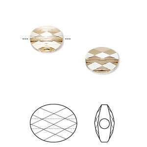 bead, swarovski crystals, crystal golden shadow, 10x8mm faceted mini oval (5051). sold per pkg of 144 (1 gross).