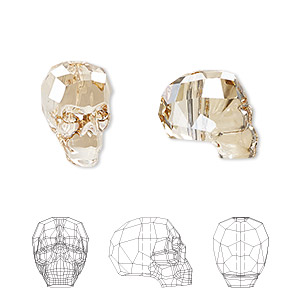 bead, swarovski crystals, crystal golden shadow, 14x13x10mm faceted skull (5750). sold per pkg of 12.