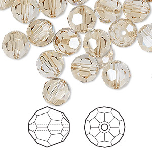 bead, swarovski crystals, crystal golden shadow, 8mm faceted round (5000). sold per pkg of 288 (2 gross).