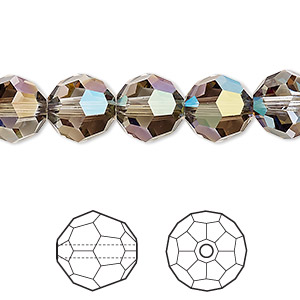 bead, swarovski crystals, crystal iridescent green, 10mm faceted round (5000). sold per pkg of 144 (1 gross).