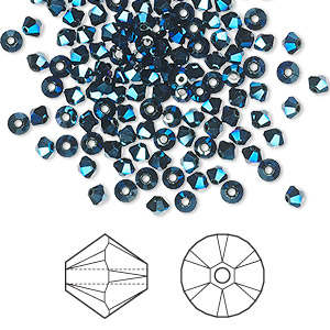 bead, swarovski crystals, crystal metallic blue 2x, 3mm xilion bicone (5328). sold per pkg of 1,440 (10 gross).