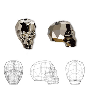 bead, swarovski crystals, crystal metallic light gold 2x, 14x13x10mm faceted skull (5750). sold per pkg of 12.