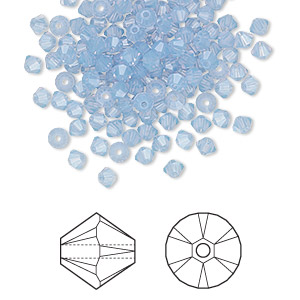 bead, swarovski crystals, crystal passions, air blue opal, 3mm xilion bicone (5328). sold per pkg of 48.