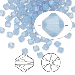 bead, swarovski crystals, crystal passions, air blue opal, 4mm xilion bicone (5328). sold per pkg of 48.