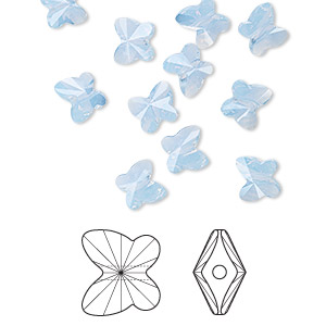 bead, swarovski crystals, crystal passions, air blue opal, 6x5mm faceted butterfly (5754). sold per pkg of 12.
