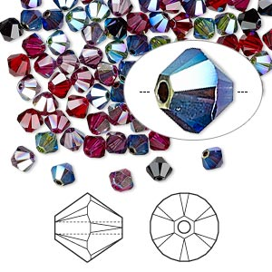 bead, swarovski crystals, crystal passions, alchemy, 4mm xilion bicone (5328). sold per pkg of 48.