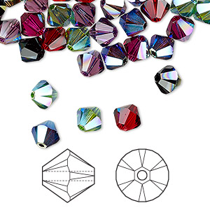 bead, swarovski crystals, crystal passions, alchemy, 6mm xilion bicone (5328). sold per pkg of 144 (1 gross).