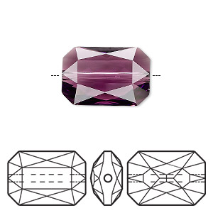 bead, swarovski crystals, crystal passions, amethyst, 18x12.5mm faceted emerald cut (5515). sold individually.