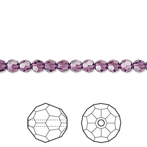 bead, swarovski crystals, crystal passions, amethyst, 4mm faceted round (5000). sold per pkg of 12.