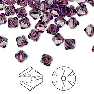 bead, swarovski crystals, crystal passions, amethyst, 6mm xilion bicone (5328). sold per pkg of 144 (1 gross).