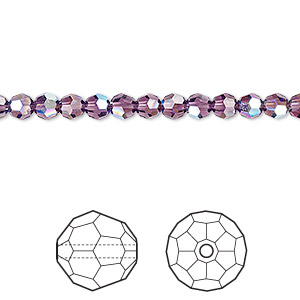 bead, swarovski crystals, crystal passions, amethyst ab, 4mm faceted round (5000). sold per pkg of 12.