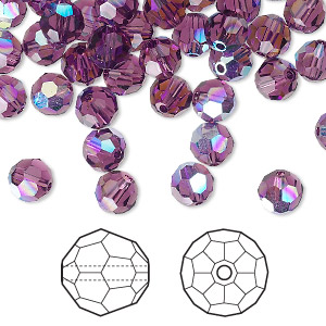 bead, swarovski crystals, crystal passions, amethyst ab, 6mm faceted round (5000). sold per pkg of 144 (1 gross).