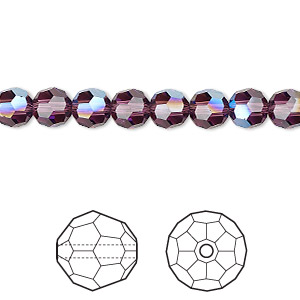 bead, swarovski crystals, crystal passions, amethyst moonlight, 6mm faceted round (5000). sold per pkg of 12.