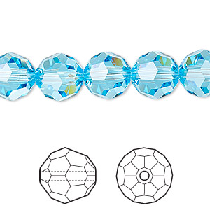 bead, swarovski crystals, crystal passions, aquamarine, 10mm faceted round (5000). sold per pkg of 24.