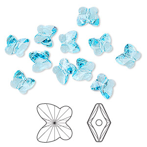 bead, swarovski crystals, crystal passions, aquamarine, 10x9mm faceted butterfly (5754). sold per pkg of 12.