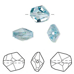 bead, swarovski crystals, crystal passions, aquamarine, 12x11mm faceted cosmic (5523). sold individually.