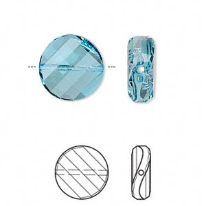bead, swarovski crystals, crystal passions, aquamarine, 14mm faceted twist with 1-1.6mm hole (5621). sold per pkg of 2.