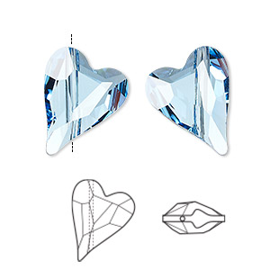 bead, swarovski crystals, crystal passions, aquamarine, 17x13mm diagonally drilled left- and right-facing faceted wild heart (5743). sold per pkg of 2.