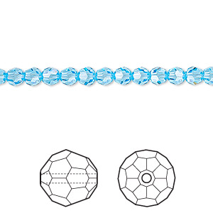 bead, swarovski crystals, crystal passions, aquamarine, 4mm faceted round (5000). sold per pkg of 12.