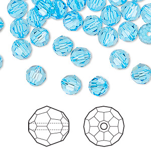 bead, swarovski crystals, crystal passions, aquamarine, 6mm faceted round (5000). sold per pkg of 144 (1 gross).